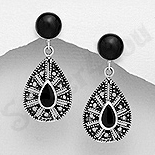 - Cercei argint cu piatra neagra - AS212
