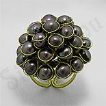 Bijuterii HANDMADE - Inel auriu perle gri - PK2263