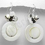 Bijuterii argint cu perle - Cercei argint albi cu sidef, perle si cuart - PK1179