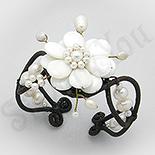 BRATARI - Bratara fantezie siret cu floare alba sidef si perle - PK1491