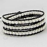 - Bratara colier piele neagra perle albe - PK2273