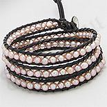 BRATARI - Bratara colier piele maro perle roz - PK2272