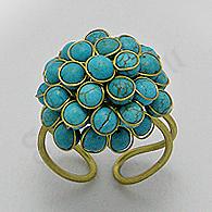 - Inel auriu bile turcuaz bleu - PK2264