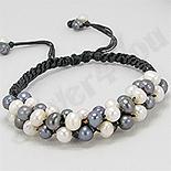 BRATARI - Bratara perle albe si negre cu piele neagra - PK1462