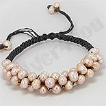 BRATARI - Bratara perle roz cu piele neagra - PK1463
