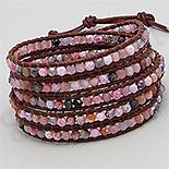 Bijuterii HANDMADE - NOU! - Bratara colier piele maro agate roz - PK2278