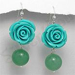 - Cercei argint trandafir bleu  si jad verde - PK1927