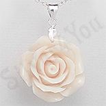 PANDANTIVE - Pandantiv argint floare trandafir culoare alba - PK2331