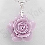 PANDANTIVE - Pandantiv argint floare trandafir culoare mov - PK2332