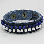 BRATARI PIELE - De SEZON! - Bratara piele albastra pietre albe albastre - PK2300