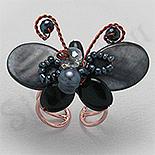 Bijuterii HANDMADE - NOU! - Inel sidef fluture cu antene - PF8628