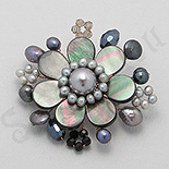 BROSE ARGINT - Brosa floare cu sidef, perle si cristale - PK1476