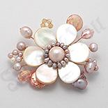 BROSE ARGINT - Brosa floare roz cu sidef, perle si cristale - PK1475