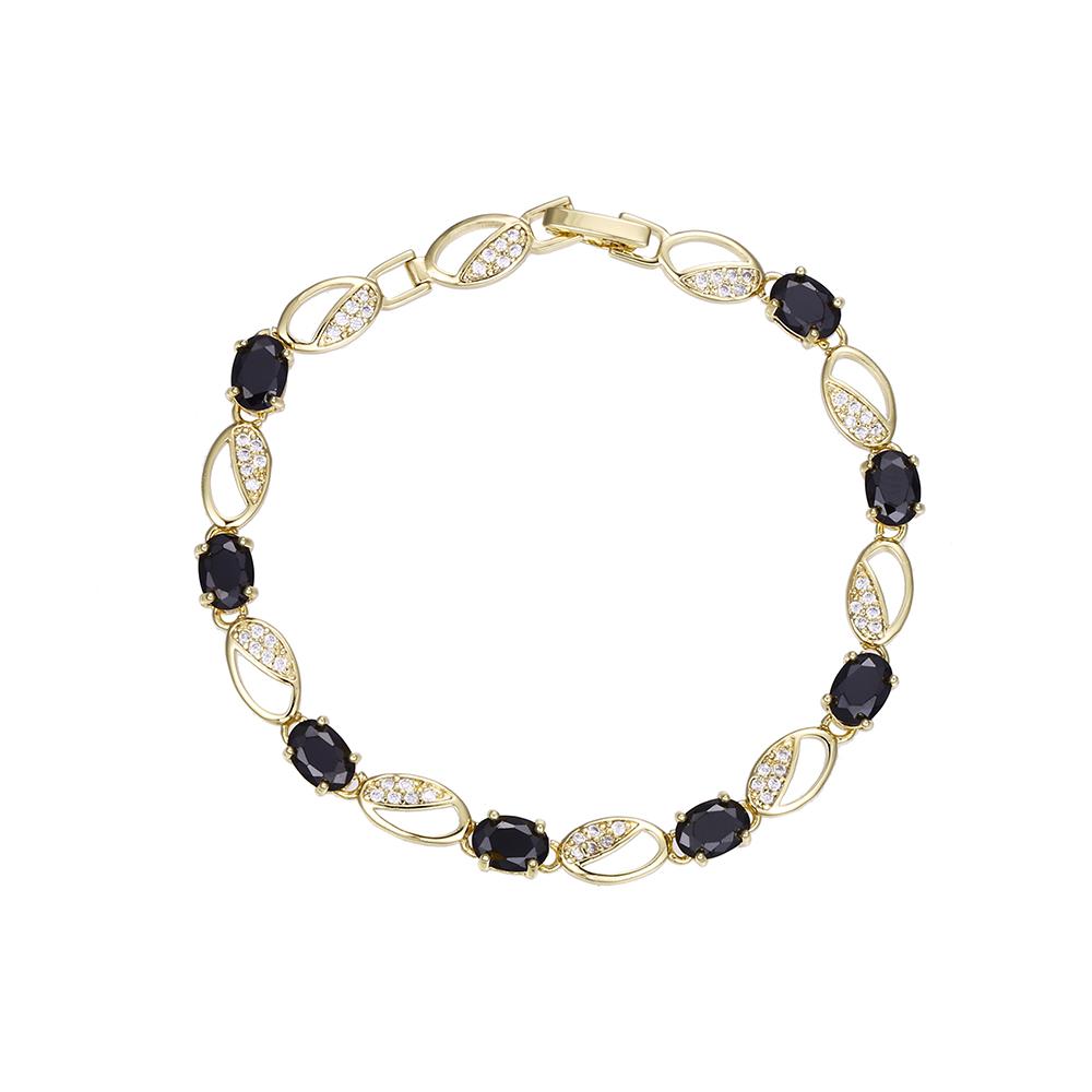 Bijuterii in Culoarea Aur 14K - Bratara cu zirconii negre si albe - ZS132B