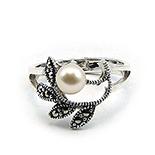 Bijuterii argint cu perle - Inel argint cu marcasit - ISK7