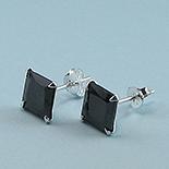 Bijuterii Argint - Cercei argint 925 si zircon negru/6 mm - CT23D