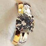 Inel inox aurit zirconii albe - BN682