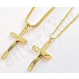 Pandantive crucifix - Set cruce barbat si dama cu lanturi in culoarea aurului 14K - ZS1295