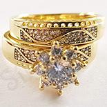 Set verigheta si inel in culoarea aurului 14K zirconii albe - ZS1346