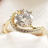 Inel in culoarea aurului 14K zirconii albe - ZS1349