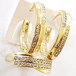 Set inel si cercei in culoarea aurului 14K zirconii albe - ZS1379