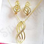 Set cercei, pandantiv si lant in culoarea aurului 14K zirconii albe - ZS1382