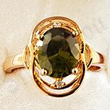 Inel in culoarea aurului 14K zirconii verzi - ZS1413