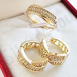 Set inel si cercei in culoarea aurului 14K zirconii albe - ZS1387