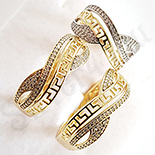 Set inel si cercei in culoarea aurului 14K zirconii albe - ZS1389