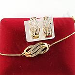Set cercei si bratara in culoarea aurului 14K zirconii albe - ZS1416