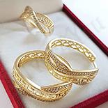 Set inel si cercei in culoarea aurului 14K zirconii albe - ZS1429