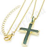 Crucifix aurit cu aur de 14K si zirconii verzi - BN412