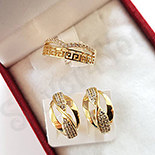 Set inel si cercei in culoarea aurului 14K zirconii albe - ZS1500
