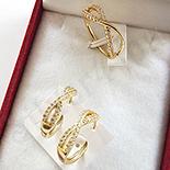 Set inel si cercei in culoarea aurului 14K zirconii albe - ZS1502