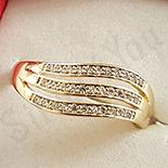 Inel in culoarea aurului 14K zirconii albe - ZS1514