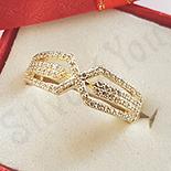 Inel in culoarea aurului 14K zirconii albe - ZS1515