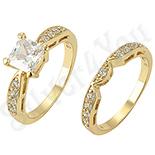 Bijuterii Inox - Set verigheta si inel in culoarea aurului 14K zirconii albe - ZS1900