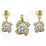 - Set cercei si pandantiv in culoarea aurului 14K zirconii albe - ZS1905