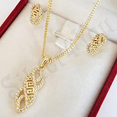 Set cercei si pandantiv in culoarea aurului de 14 K - ZS1466
