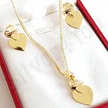Set cercei si pandantiv inimioare in culoarea aurului 14K - ZS1479