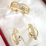 Set inel si cercei in culoarea aurului 14K zirconii albe - ZS1600