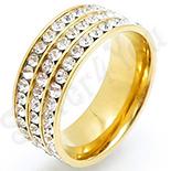 Inel inox aurit cu zirconii albe - BN609