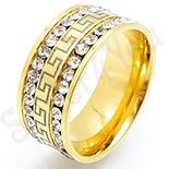 Bijuterii Inox Dama - Inel inox aurit cu zirconii albe - BN617
