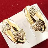 Cercei in culoarea aurului 14K zirconii albe - 1.5 cm - ZS1704