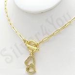 Pandantiv cu lant in culoarea aurului 14K cu zirconii albe. - ZS1786