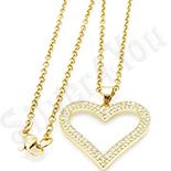 Pandantiv cu lant in culoarea aurului 14K cu zirconii albe. - ZS1783