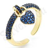 Inel in culoarea aurului 14K zirconii albastre - ZS1775