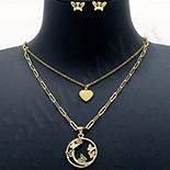 Set Cercei si colier si pandantiv aurit cu aur de 14K - ZS1950