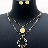 Bijuterii in Culoarea Aur 14K - Set Cercei si Colier cu Pandantiv aurite cu aur de 14K - ZS1951