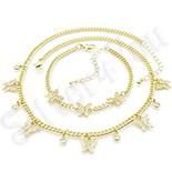 Bijuterii in Culoarea Aur 14K - Set lant si bratara cu zirconii albe aurit cu aur de 14K - ZS1790